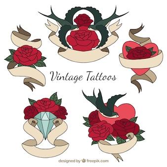 Vintage tatuaże z różami i wstążkami ręcznie rysowane