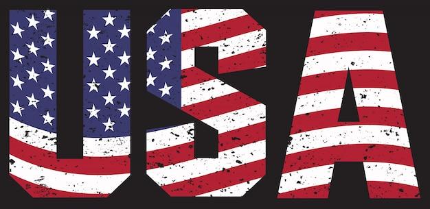Vintage tekst usa z flagą