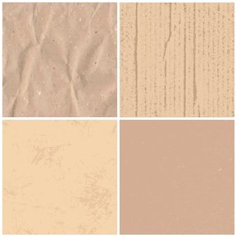 Vintage tekstury papieru. retro teksturowane brązowe papiery, rzemiosła tektury i zawijanie zabytkowych stron zestaw tekstur tła