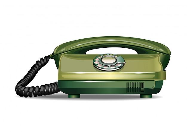 Vintage telefon z tarczą obrotową. realistyczna ilustracja
