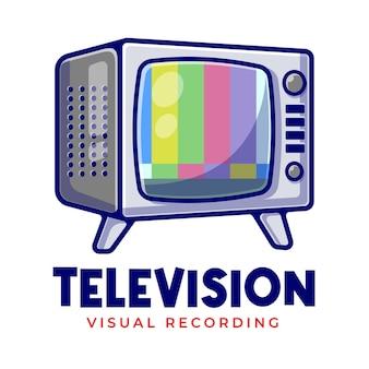Vintage telewizora nie ma sygnału kreskówka maskotka logo szablon. logo firmy telewizyjnej do edycji.