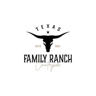 Vintage texas longhorn country western bull logo