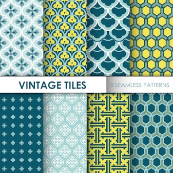 Vintage tile backgrounds 8 bez szwu wzorów