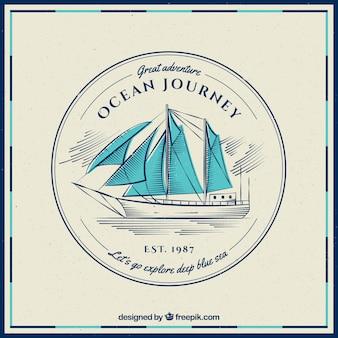 Vintage tle łodzi z niebieskimi żaglami