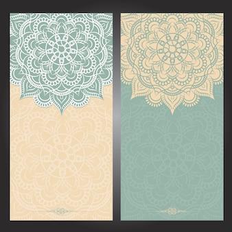 Vintage tło ślub z mandali wzór, kwiatowy mandali