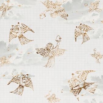 Vintage tło wektor wzór anioła, anioł grający na dzwonach, zremiksowany z dzieł sir edwarda coleya burne–jones