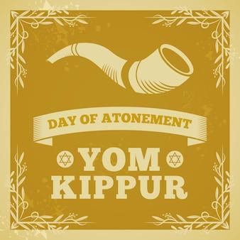 Vintage tło yom kippur z rogiem