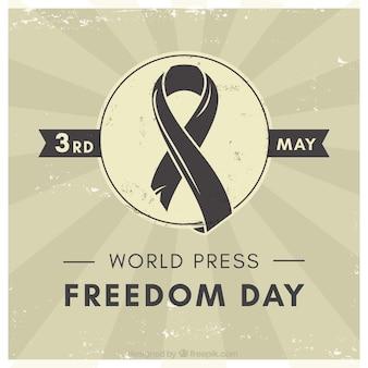 Vintage tło z czarną wstążką dla świata wolności prasy dzień