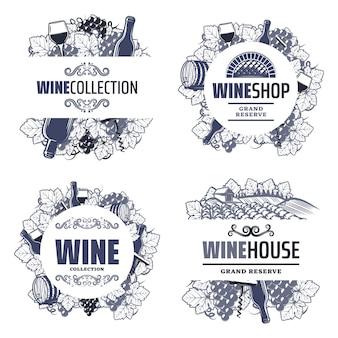 Vintage tradycyjne szablony wina z napisami butelki kieliszki kiść winogron beczka winnica korkociąg na białym tle