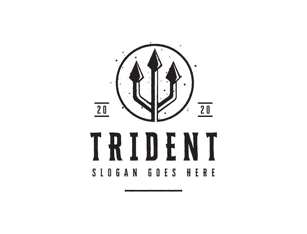 Vintage trident spear of poseidon logo, logo neptune god, triton spear logo icon template on white background