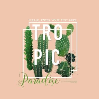 Vintage tropical summer cactus graphic design na koszulkę, modę, nadruki in