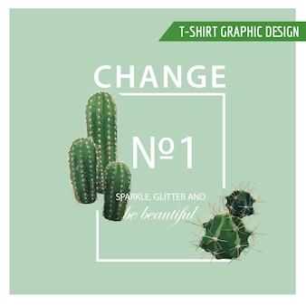 Vintage tropical summer cactus heart graphic design na koszulkę, modę, nadruki in