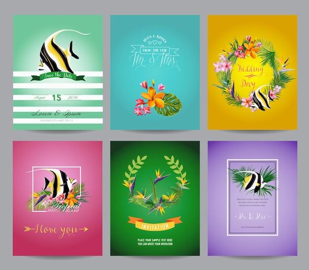 Vintage tropikalna ryba i egzotyczne kwiaty zestaw kart na urodziny, wesele, baby shower, przyjęcie w party