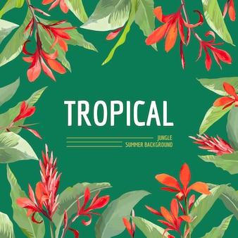 Vintage tropikalne liście i kwiaty projekt graficzny na koszulkę, modę, nadruki w