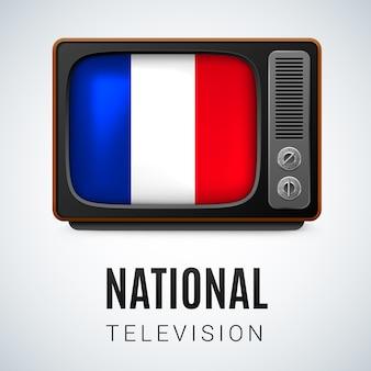 Vintage tv i flaga francji jako symbol telewizji narodowej. guzik z flagą francji