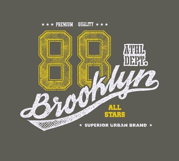 Vintage typografia brooklińska, grafika t-shirt