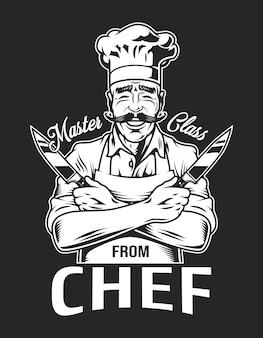Vintage uśmiechnięty typ szefa kuchni