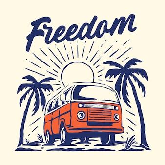 Vintage van na plaży ilustracja