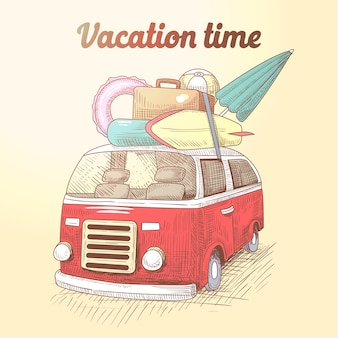 Vintage van z surf beach vacation