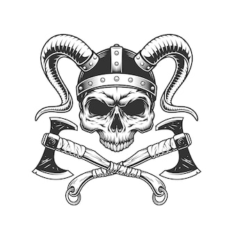 Vintage viking skull bez szczęki