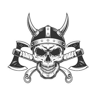 Vintage viking skull w rogatym hełmie