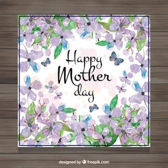 Vintage watercolor dzień matki pozdrowienia z kwiatów