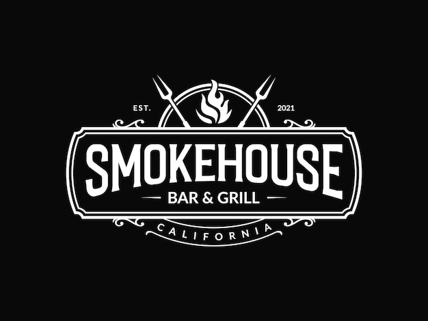 Vintage wędzarnia grill bar grillowy i logo grilla z widelcem i ogniem