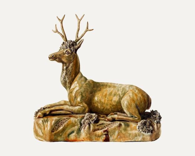 Vintage wektor ilustracja jelenia, zremiksowany z grafiki autorstwa charlesa caseau