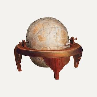 Vintage wektor ilustracja kuli ziemskiej, zremiksowany z grafiki autorstwa edwarda l. loper