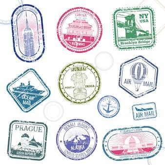 Vintage wektor paszport podróży znaczki z międzynarodowymi symbolami i znanym znakiem towarowym