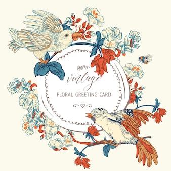 Vintage wektor ptak z kwiatami kartkę z życzeniami. naturalna ilustracja kwiatowy, kwiatowy kwitnące tekstury. podstawowa karta botaniczna regency.