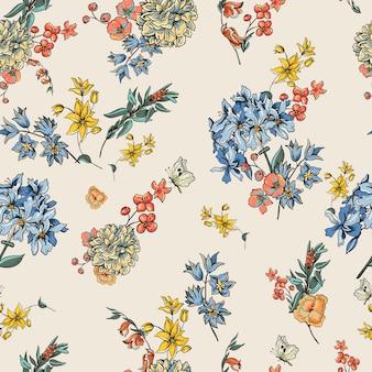 Vintage wektor wzór kwiatowy
