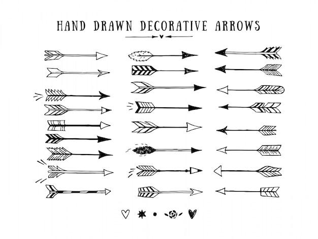 Vintage wektor zestaw dekoracyjne strzałki. ręcznie rysowane wektor elementów projektu
