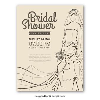 Vintage wesele prysznicem zaproszenia z oblubienicy