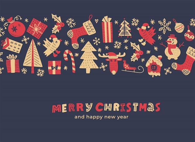 Vintage wesołych świąt i szczęśliwego nowego roku kartkę z życzeniami. świąteczne elementy ozdobne w szeroki pasek. ilustracja kolor drzewa.