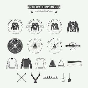 Vintage wesołych świąt lub zima sprzedaż logo emblemat etykieta i znak wodny