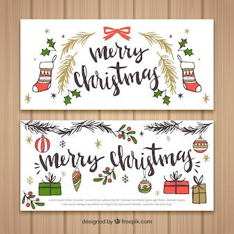 Vintage wesołych świąt transparenty z rysunkami