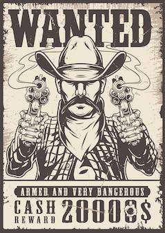 Vintage western chciał monochromatyczny plakat