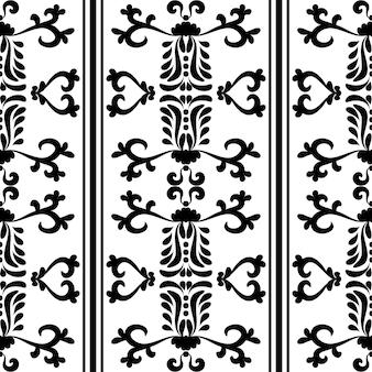 Vintage wiktoriański wzór z bezszwowymi paskami czarno-biały kolor grafika wektorowa