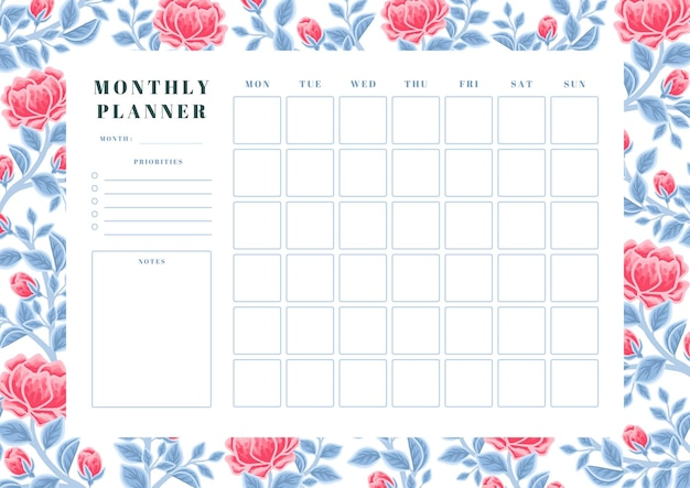 Vintage winter red peony flower and blue leaf monthly planner template