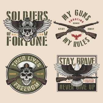 Vintage wojskowe kolorowe odznaki