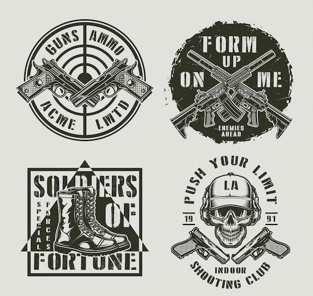 Vintage wojskowe monochromatyczne odznaki