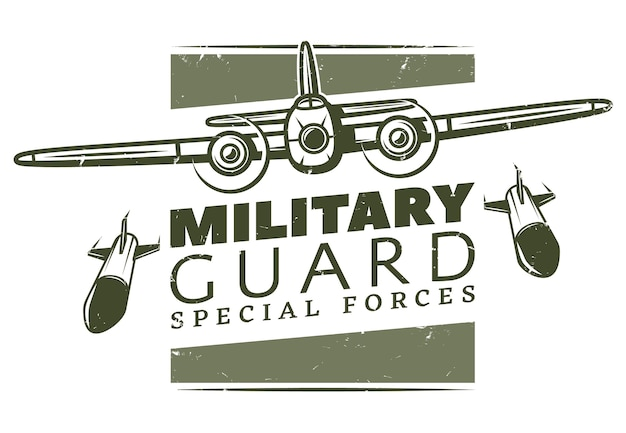 Vintage wojskowy szablon logotypu