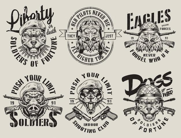 Vintage wojskowych emblematów monochromatycznych