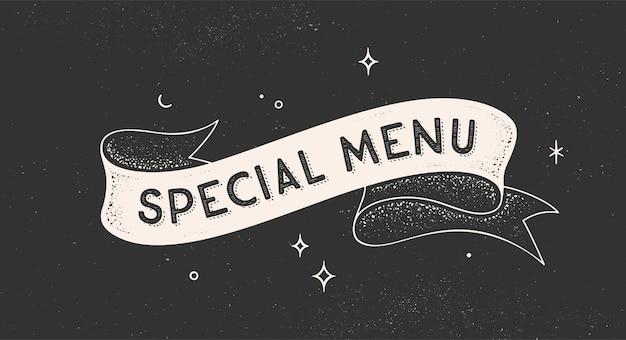 Vintage wstążka z tekstem menu specjalne. czarno-biały transparent rysowane ręcznie