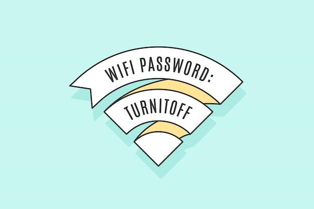 Vintage wstążka znak wifi za darmo wi-fi