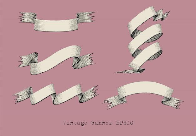 Vintage wstążki ręcznie rysunek grawerowanie ilustracja