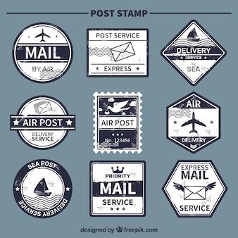 Vintage wybór niebieskich znaczków pocztowych
