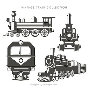 Vintage wybór pociągów z wielkimi wzorami