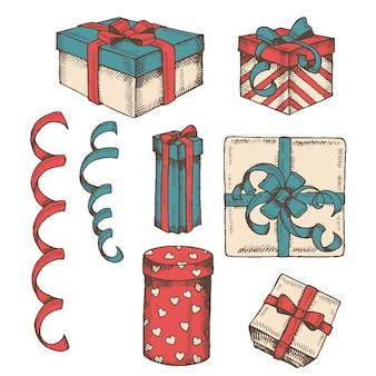 Vintage wyciągnąć rękę zestaw różnych kolorowych prezentów pudełko, opakowania i serpentyn na białym tle. naszkicować. rytownictwo. boże narodzenie, nowy rok, wszystkiego najlepszego, walentynki